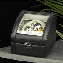 Leather Watch & Cufflink Travel Case - Black Leather - 7W x