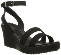 Crocs Women's Leigh Wedge Sandal,Black,6 M US