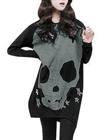 Allegra K Women Long Sleeve Skull Star Pattern Loose Tunic