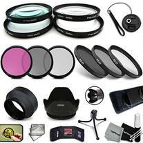 PRO 52MM Lens Filters + 52mm Lens Hood KIT including: 52mm