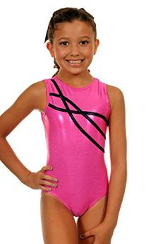 TW Big Girl's Leotard Sophia | Hot Pink Sparkle-Child:7-8