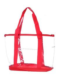 Bags for LessTM Clear Zippered Security Bag with Pocket, Red