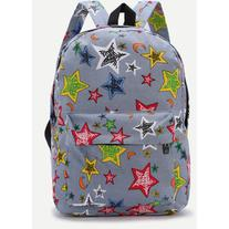 Light Blue Star Print Casual Backpack