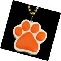 Light Up Orange Paw Print Charm Necklace