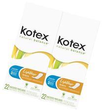 Kotex Lightdays Regular Unscented Liners-22 ct, 2 pk