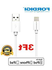 FORDIGI 3-Feet 8pin Lightning Sync Charge Cable Dual-Port 2.
