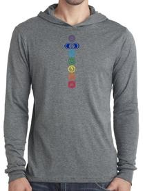 Mens Lightweight Colored Chakras Hoodie Tee Shirt, XL Deep