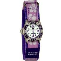 Ravel Girls Lilac Hibiscus Velcro Strap Watch R1507.20
