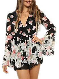 Choies Women Design Limited Floral Print Chiffon Long Flare