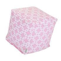 Majestic Home Goods Links Cube Ottoman, Small, Soft Pink