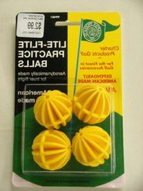Lite Flite Golf Practice Balls 4 ct Aerodynamic Yellow