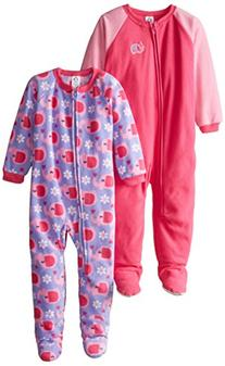 Gerber Little Girls' Toddler 2 Pack Blanket Sleepers,