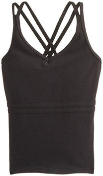 Danskin Big Girls' Cross Back Camisole Dance Top, Rich Black
