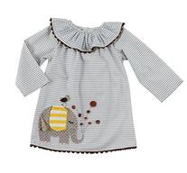 Mud Pie Little Girls' Elephant Dress, Multi, 4T