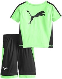 PUMA Little Boys' Logo Performance Short Set, Green Gecko,