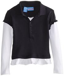 Nautica Little Girls' Uniform Long Sleeve Interlock Twofer