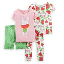 Carter's Little Girls' 4 Piece PJ Set  - Watermelon - 2T