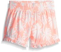 Kensie Little Girls' Printed Rayon Short with Pom Trim, Neon