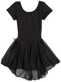 Capezio Little Girls' Short Sleeve Nylon Dress,Black,I
