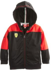 PUMA Little Boys' Toddler Ferrari Hooded Jacket, Black, 2T