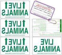 Live Animal Label Set of 5 Stickers