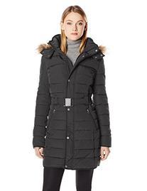 Tommy Hilfiger Women's Long Belted Down Alternative Coat