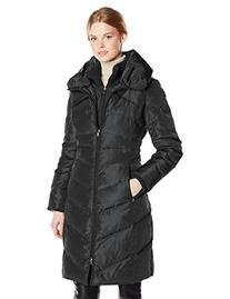 Jessica Simpson Women's Long Chevron Down Coat, Black, Large