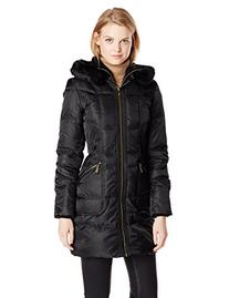 Vince Camuto Women's Long Down Coat with Gold Hardware and