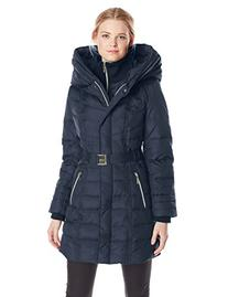 Kensie Women's Long Down Coat with Hood, Black, Medium