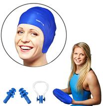 Start Smart Silicone Swim Cap For Long Hair PLUS Nose Clip