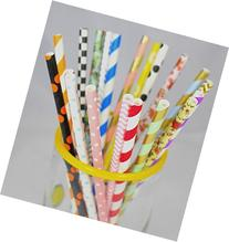 Long lasting assorted biodegradable Paper Straws 150 Count