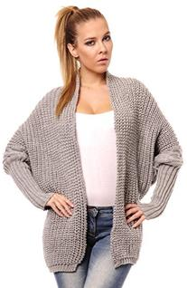 Glamour Empire Women's Long Sleeve Batwing Knitted Cardigan