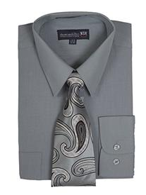 Milano Moda Men's Long Sleeve Dress Shirt With Matching Tie