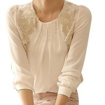 Women Ladies Long Sleeve Embroidered Chiffon Casual Loose