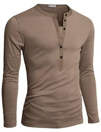 Doublju Mens Long Sleeve Henley T-shirts with Button Placket