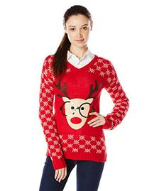 Derek Heart Junior's Long Sleeve Nerdy Reindeer Ugly