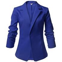 Meaneor Women's Long Sleeve Peaked Collar Work Candy Color