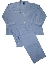 Izod - Mens Long Sleeve Striped Broadcloth Pajamas, Blue