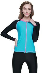 Women's Long-Sleeve Zip-Up Rashguard Asian L/US M Blue/Black