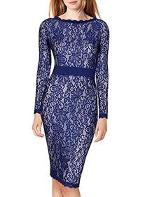 Miusol Women's Long Sleeves Floral Lace Classic Slim