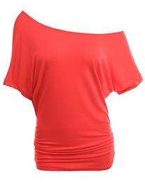 Doublju Women Sexy Casual Dolman Sleeve Plus Size Top CORAL,