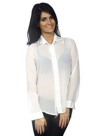 Women's Button Down Metal Beading Collar Shirt, White