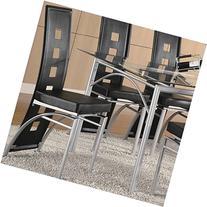 Coaster Los Feliz Metal Dining Chair with Black Vinyl in