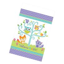 Amscan Lovable Woodland Welcome Baby Plastic Tablecover, 54