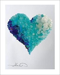 LOVE - Rare Blues & Aqua Sea Glass Heart Poster Print. 11x14