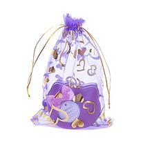 Sealike 100 Pcs Love Heart Organza Drawstring Pouches Gift