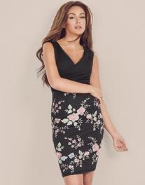 Lipsy Love Michelle Keegan Flower Embroidery Wrap Dress