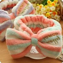 Domire Lovely Bowknot Soft Carol Fleece Bow Wash Cosmetic
