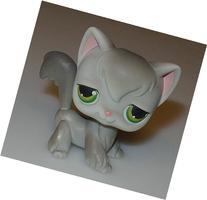 Littlest Pet Shop LPS #20 Gray Angora Kitty Cat Green Eyes