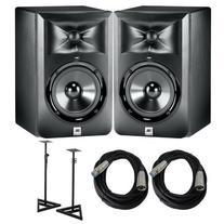 JBL LSR 305 Pair of studio monitors with Cables and Stands